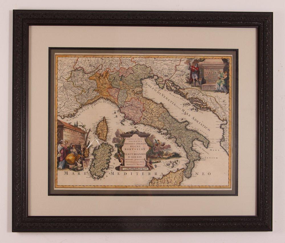 Map of Italy (Italia Antiqua of Oud Italje), 1704  Hand