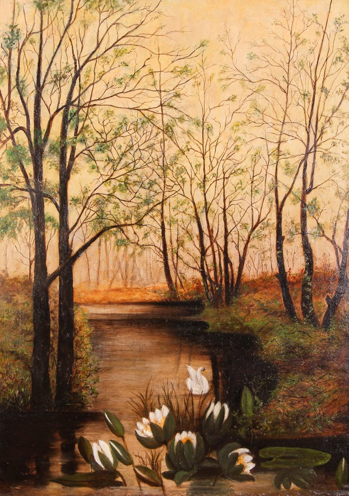 "A. Krotzer ""Landscape with Swan and Lily Pads"""