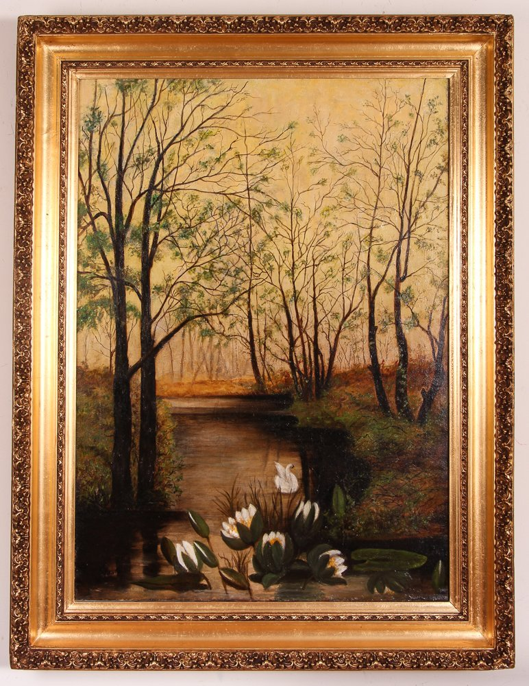 "A. Krotzer ""Landscape with Swan and Lily Pads"" - 2"