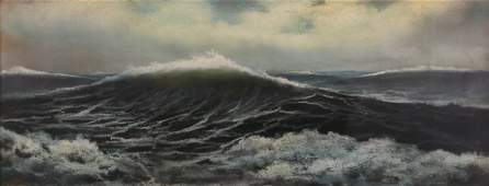 Turbulent Ocean Pastel Scene Painting by M.T.T.