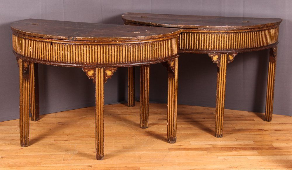 PAIR OF NORTH EUROPEAN PARCEL-GILT CONSOLE TABLES - 3