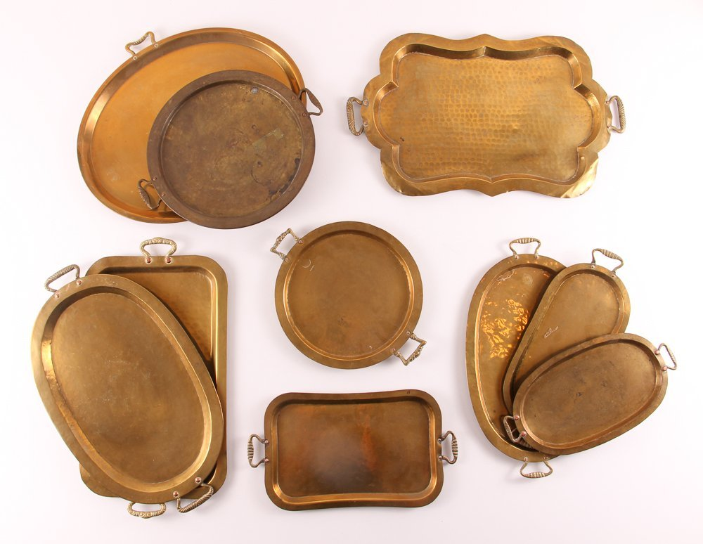 Ten Russian Brass Trays with Handles