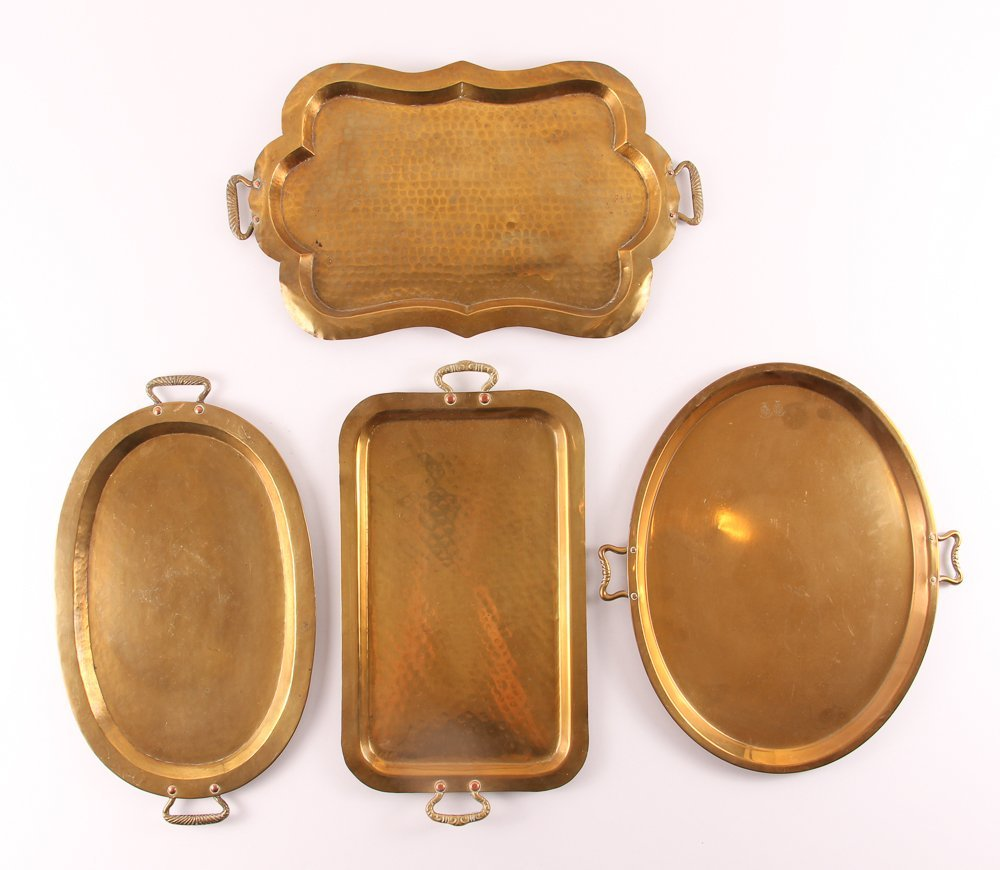 Ten Russian Brass Trays with Handles - 2