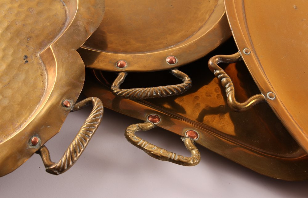 Ten Russian Brass Trays with Handles - 3