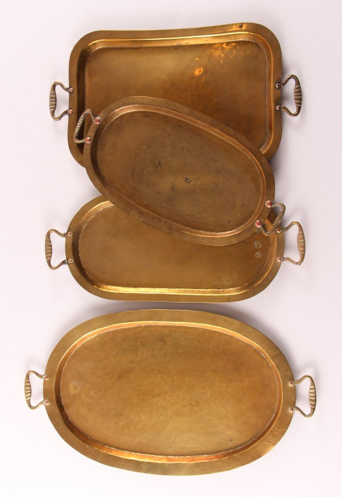 Ten Russian Brass Trays with Handles - 4