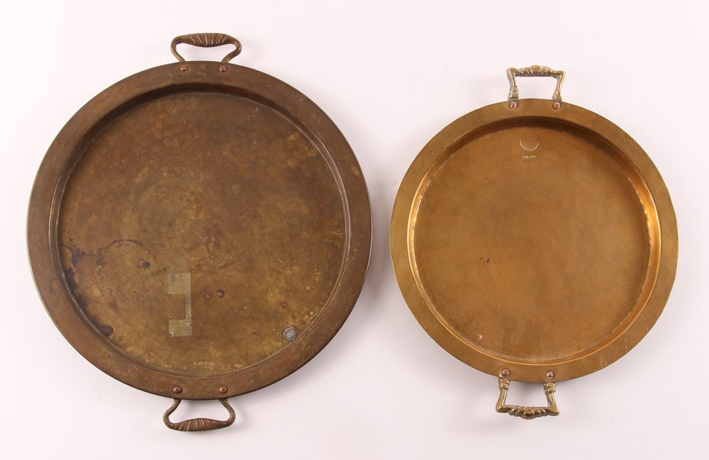 Ten Russian Brass Trays with Handles - 7
