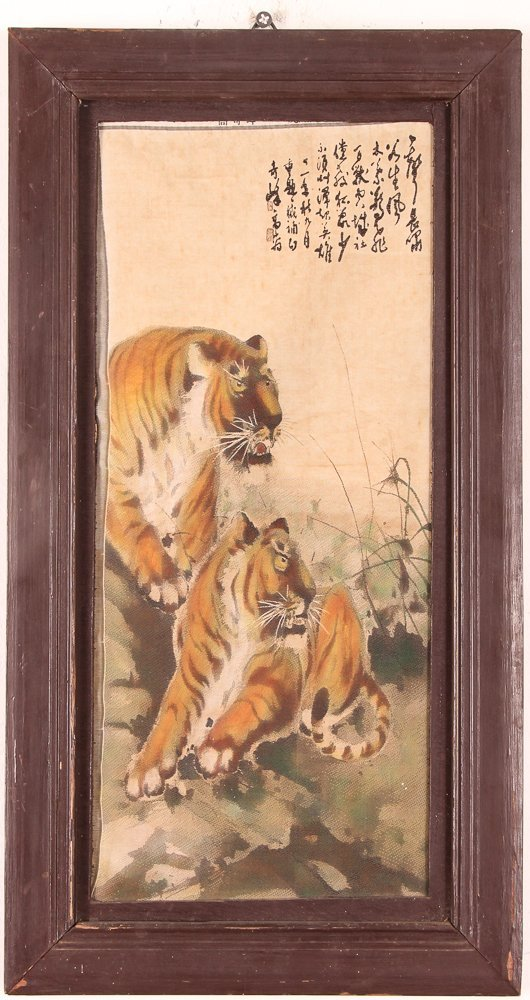 Chinese Tigers painting on silk - 2
