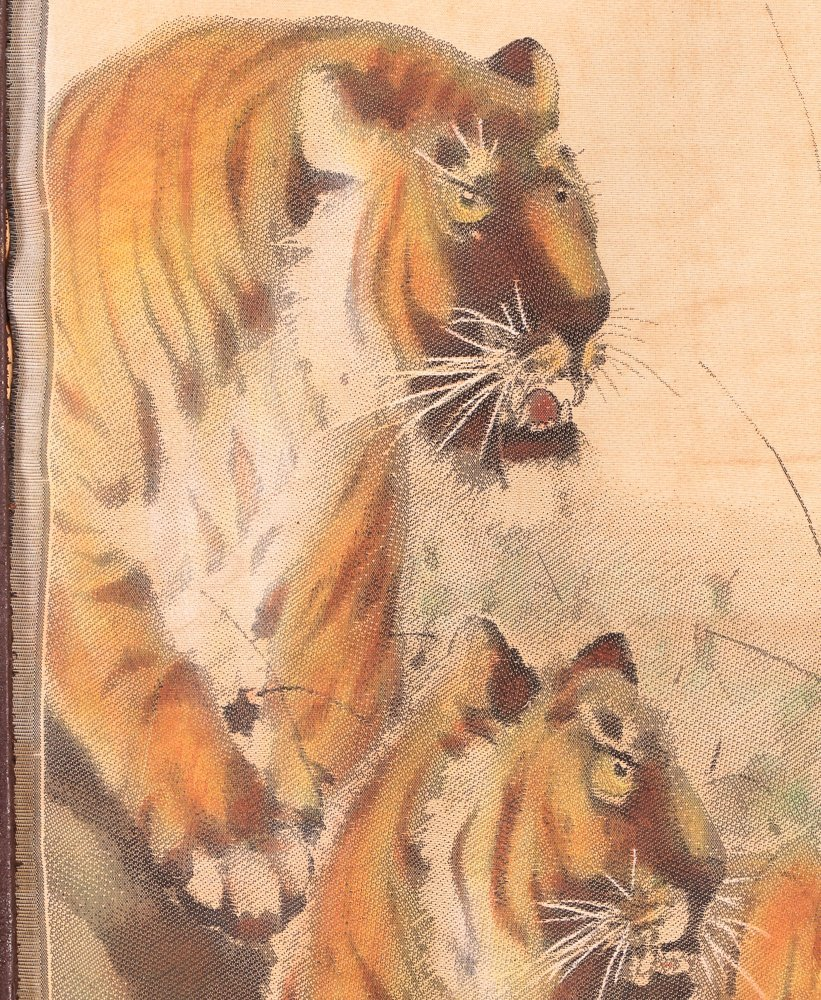 Chinese Tigers painting on silk - 4