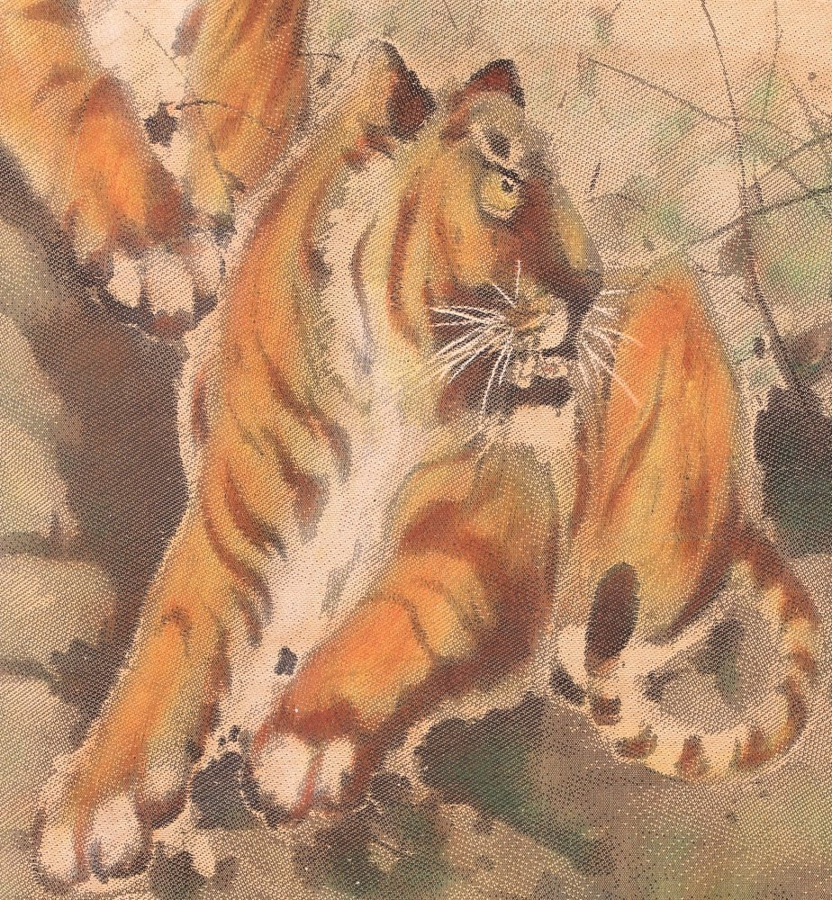 Chinese Tigers painting on silk - 5