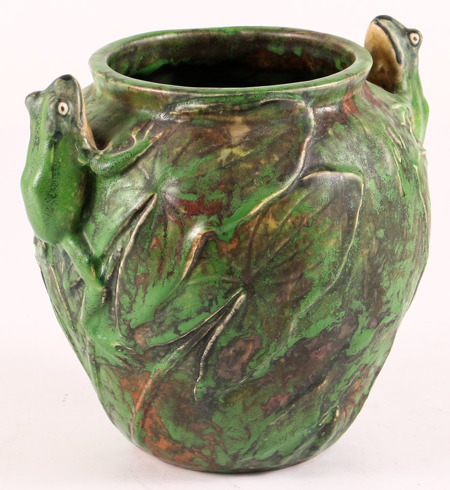 Weller Pottery, Coppertone, Vase with Seated Frogs