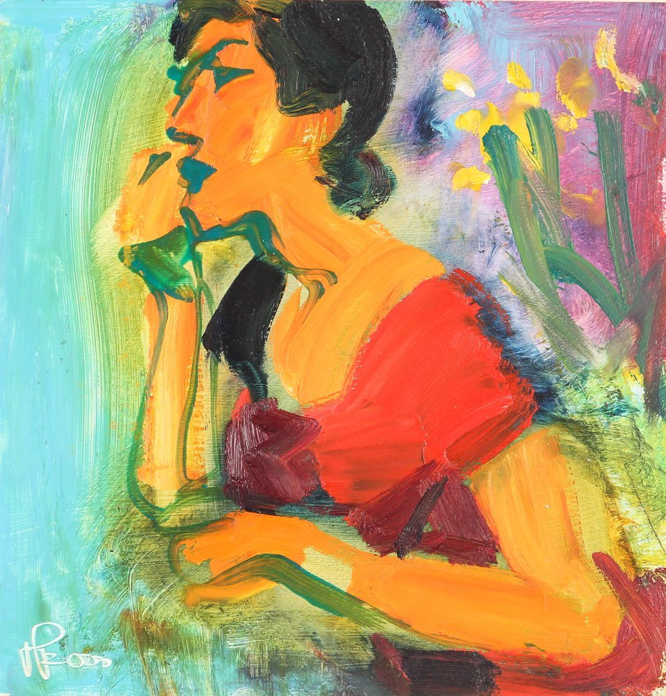 """oil on paper """"Woman Speaking on the Telephone"""""""
