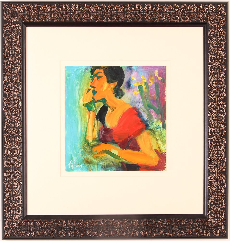 """oil on paper """"Woman Speaking on the Telephone"""" - 2"""