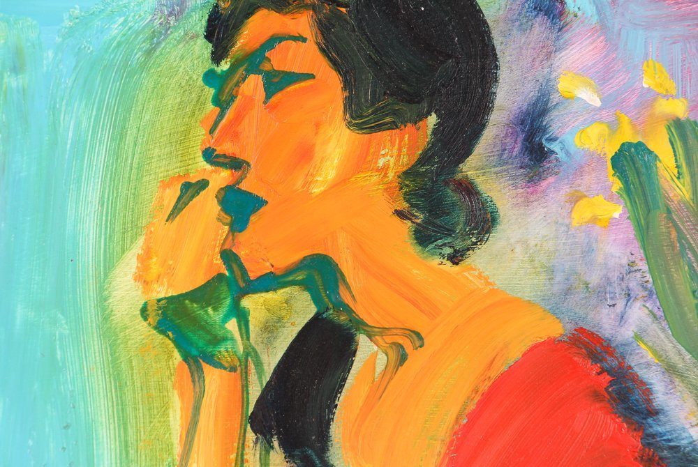 """oil on paper """"Woman Speaking on the Telephone"""" - 4"""