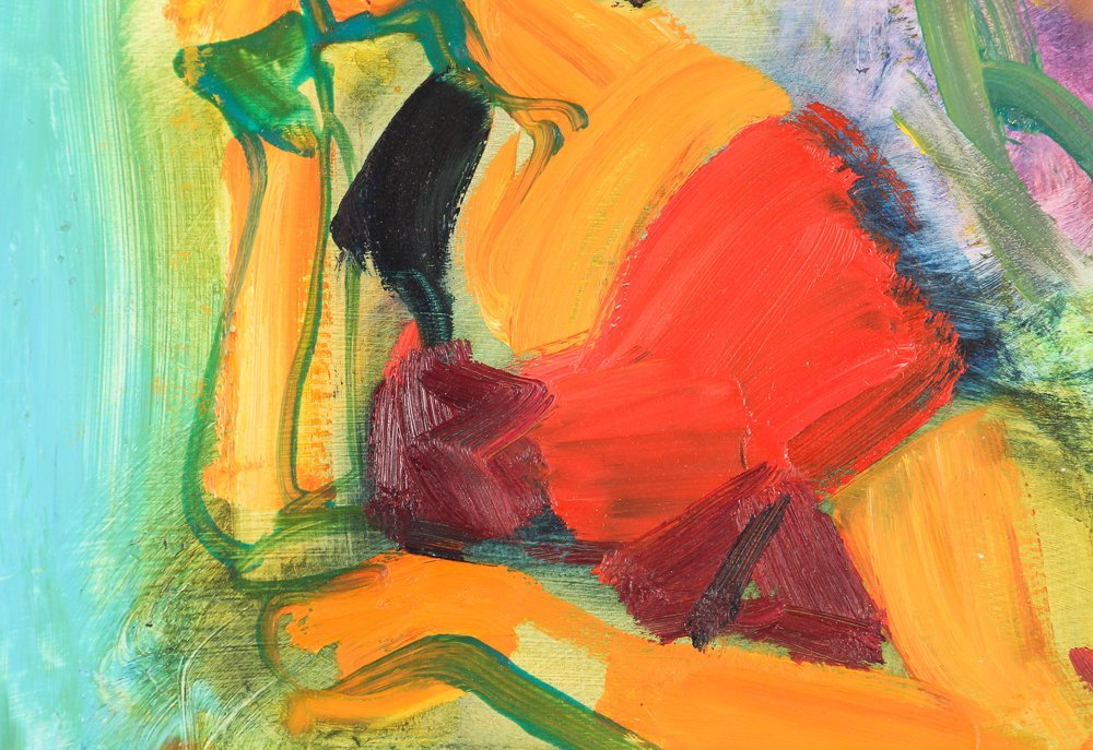 """oil on paper """"Woman Speaking on the Telephone"""" - 5"""