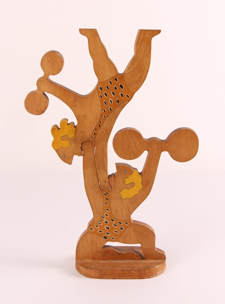 """William Accorsi wood sculpture """"Circus Strongmen"""""""