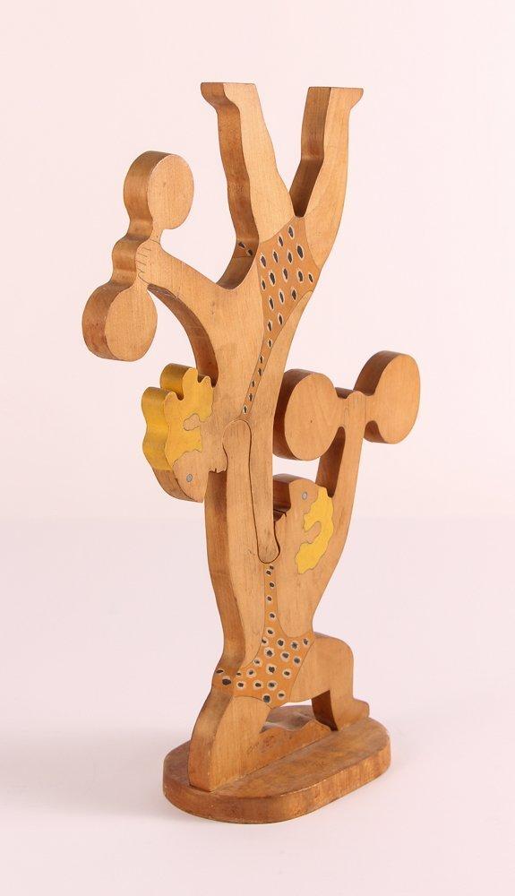 """William Accorsi wood sculpture """"Circus Strongmen"""" - 2"""