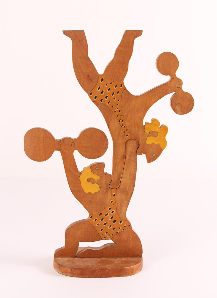 """William Accorsi wood sculpture """"Circus Strongmen"""" - 3"""