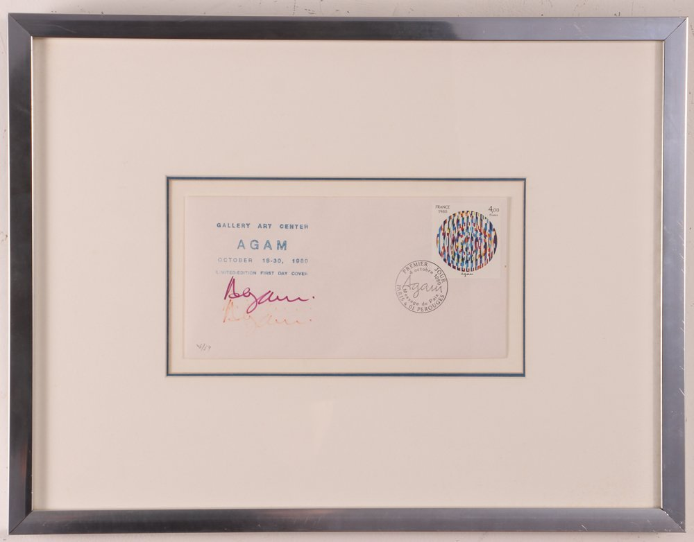 "YAACOV AGAM hand-signed ""LIFE"" w France postage stamp - 2"