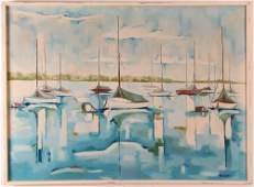 Donna Hollen Bolmgren 1965 ptg Sailboats in Harbour