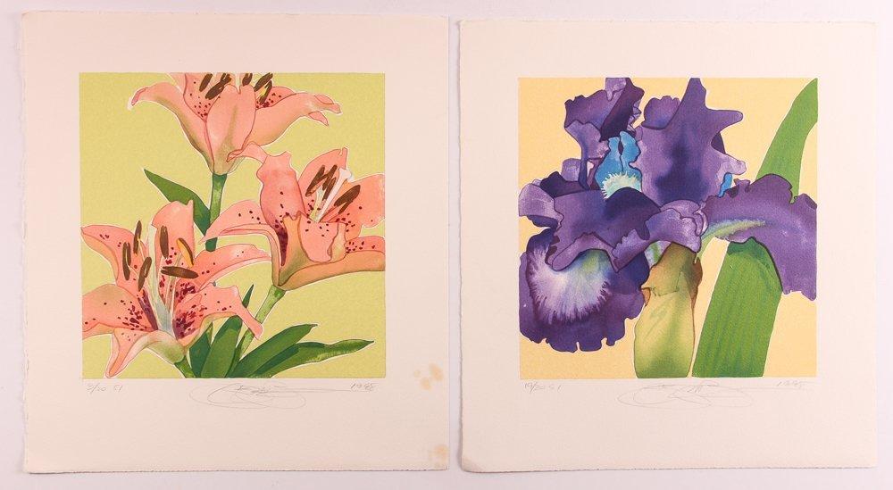 "2 Gary Bukovnik orig lithos,  ""Iris"" and ""Day Lilies"""