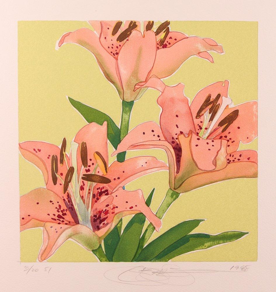 "2 Gary Bukovnik orig lithos,  ""Iris"" and ""Day Lilies"" - 2"