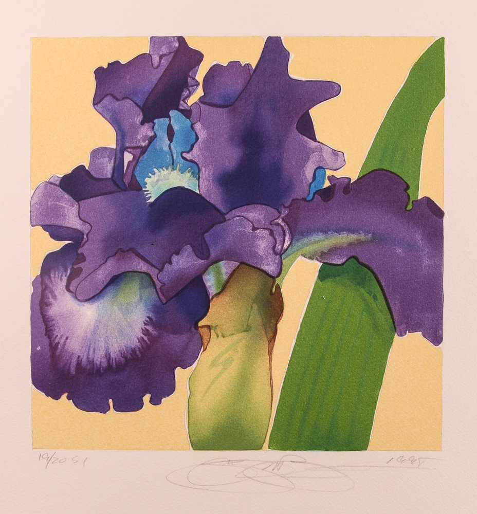 "2 Gary Bukovnik orig lithos,  ""Iris"" and ""Day Lilies"" - 5"