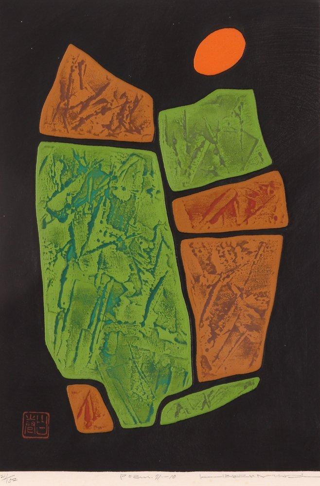 "Haku Maki ""Poem 11-10"" calligraphic woodcut"
