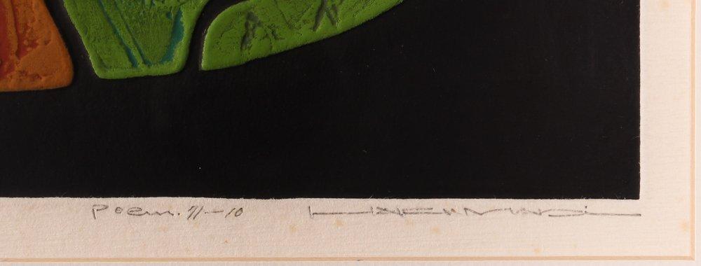 "Haku Maki ""Poem 11-10"" calligraphic woodcut - 3"