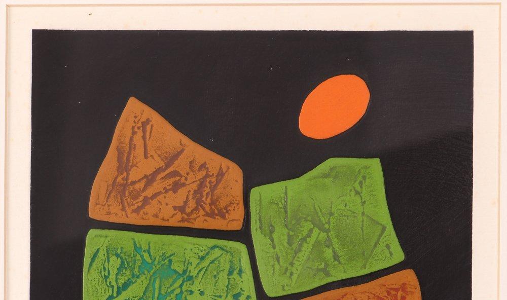 "Haku Maki ""Poem 11-10"" calligraphic woodcut - 5"