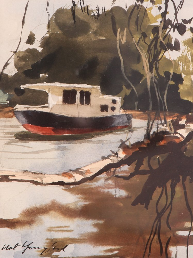 """Nat Youngblood watercolor """"Riverboat"""""""