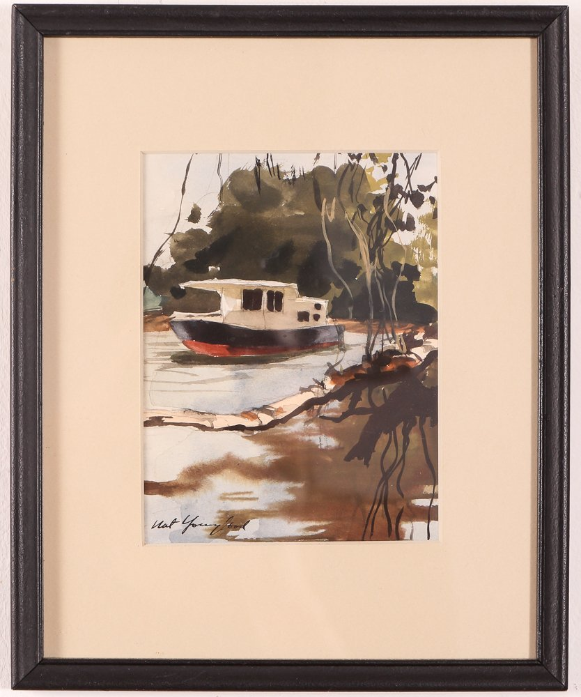 """Nat Youngblood watercolor """"Riverboat"""" - 2"""