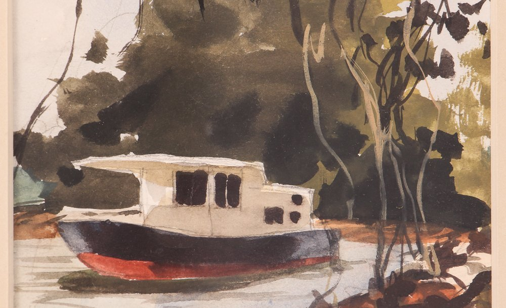 """Nat Youngblood watercolor """"Riverboat"""" - 4"""