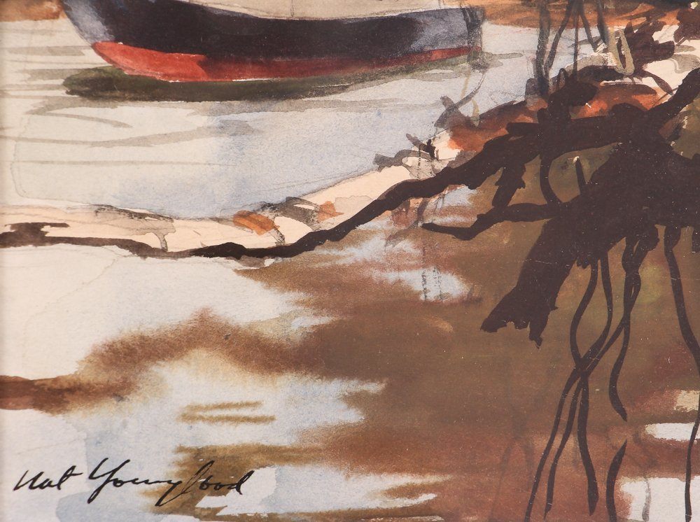 """Nat Youngblood watercolor """"Riverboat"""" - 5"""