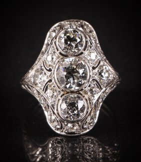 Art Deco Diamond Cocktail Ring