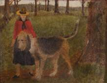 Primitive Painting of Girl and Dog