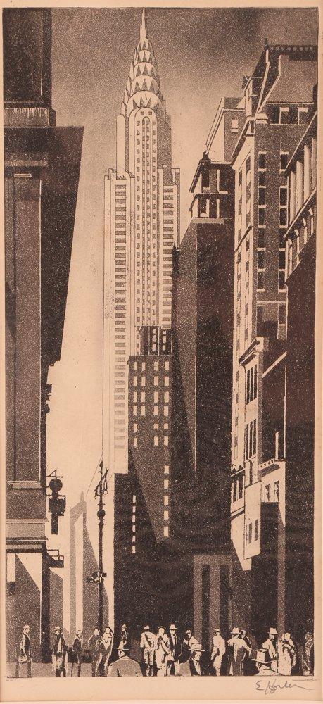 Earl Horter Chrysler Building Aquatint, unmounted
