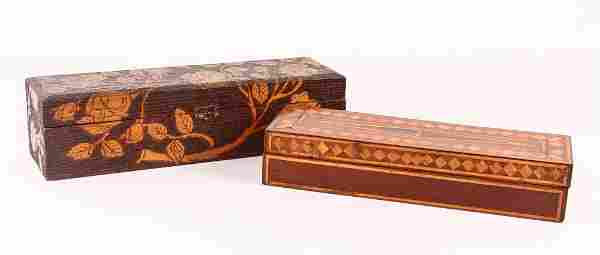 2 Folk Art Brush Boxes, one inlaid wood