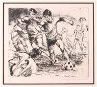 Leroy Neiman Soccer Etching
