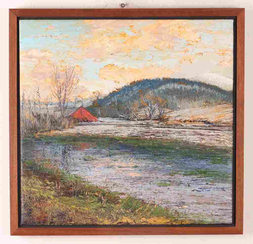 """Harry Orlyk oil on canvas """"Vermont Farm and Silo"""""""