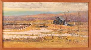 "Harry Orlyk oil on canvas ""Vermont Farm Fields in"
