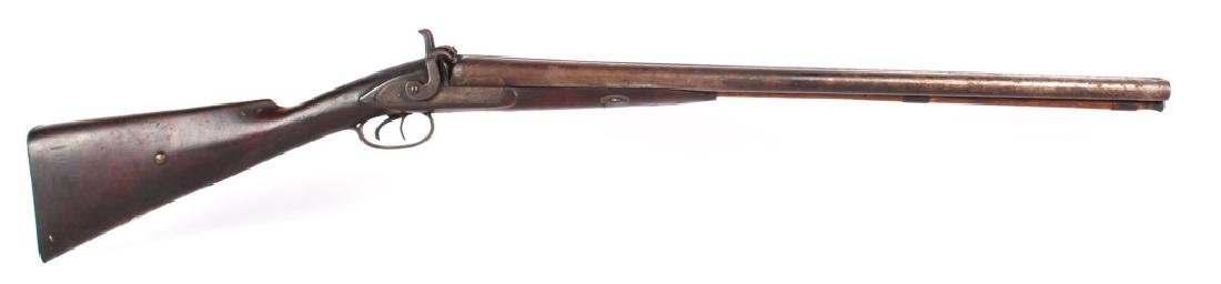 ANTIQUE 19TH CENTURY MUZZLE LOADING SBS SHOTGUN