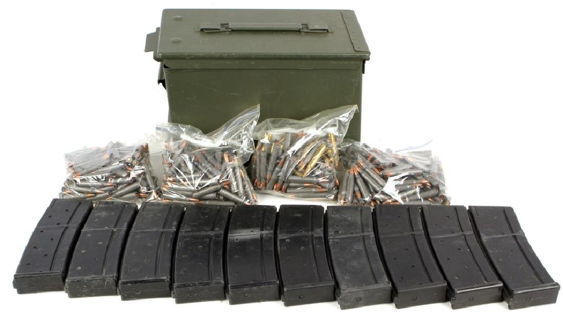 LOT OF MAGAZINES, 223 ROUNDS, AND AMMO CAN