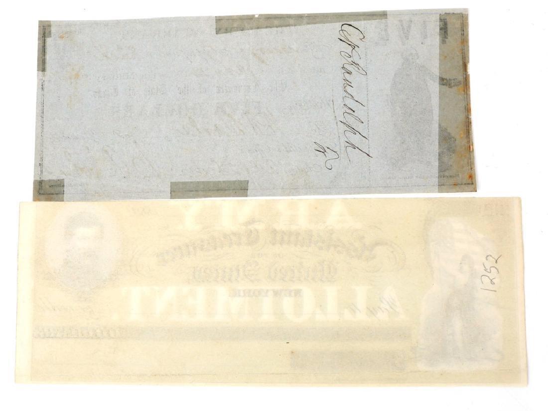 1862 TREASURY NOTE LOT OF 2 TEXAS - US ARMY - 2