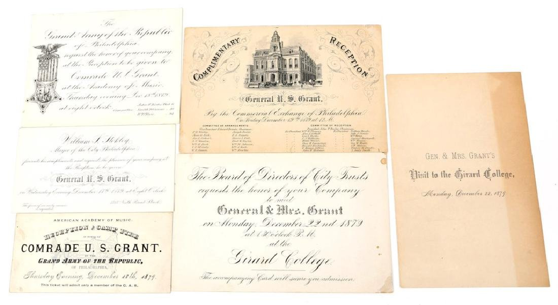 1879 G.A.R. U.S. GRANT RECEPTION TICKET LOT OF 6
