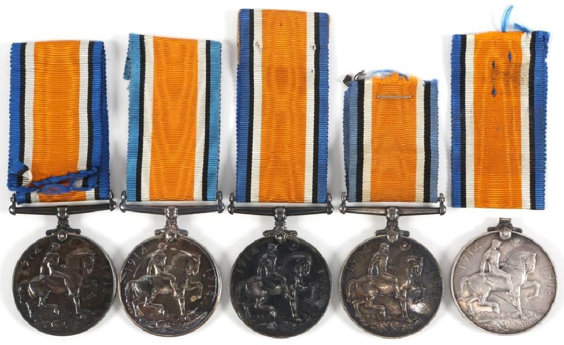 NAMED WWI BRITISH GEORGE V MEDAL LOT OF 5