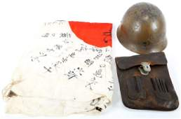 WWII JAPANESE HELMET, FLAG, AND DOCUMENT POUCH