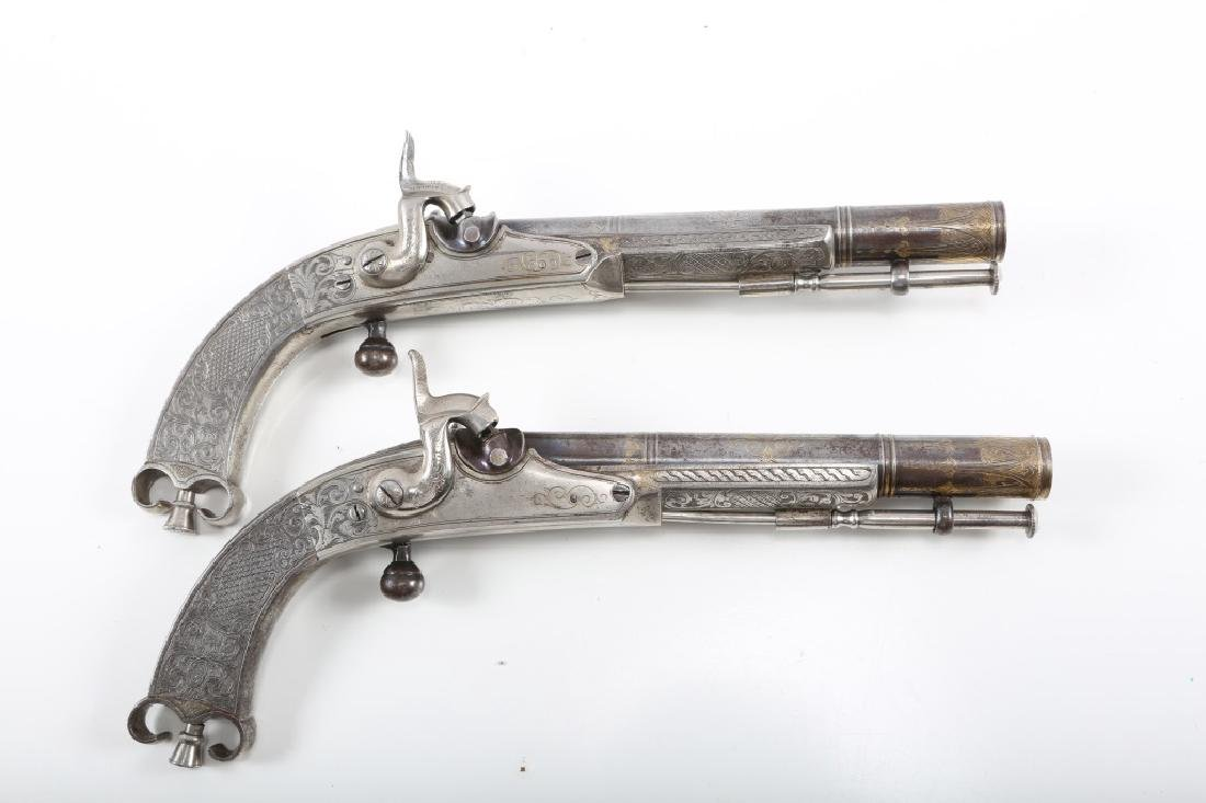 PAIR OF MATCHING SCOTTISH PERCUSSION PISTOLS