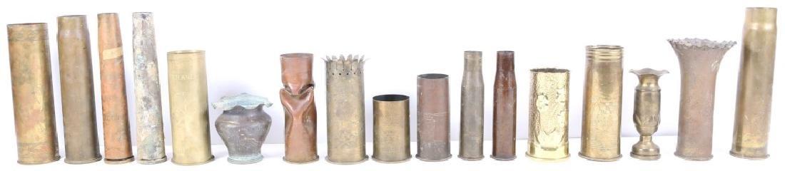 SHELL ART ROUND CASING LOT OF 17 NOYON 1917