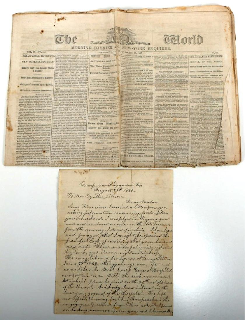 CIVIL WAR NEWSPAPER AND SIGNED DOCUMENT