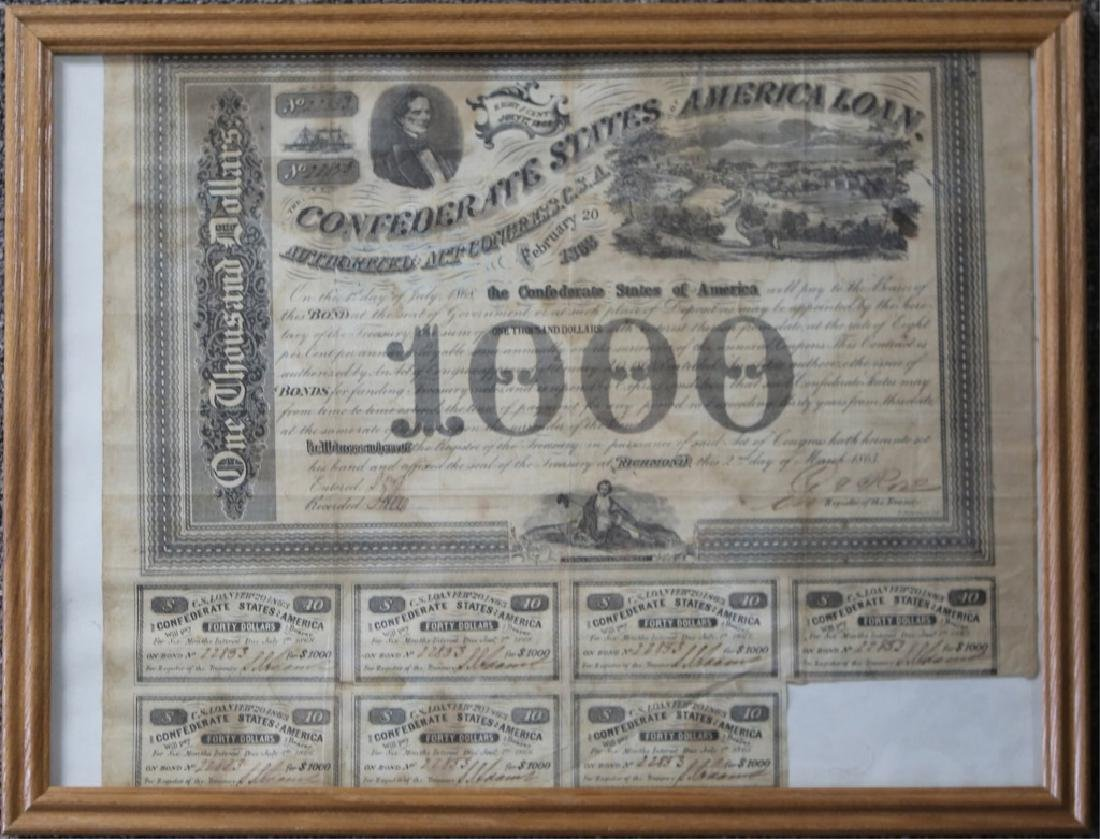 CIVIL WAR CONFEDERATE $1000 BEARER BOND